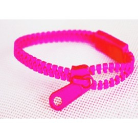 Neon Pink Zipper Bracelet