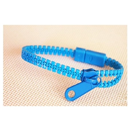 Neon Medium Blue Zipper Bracelet