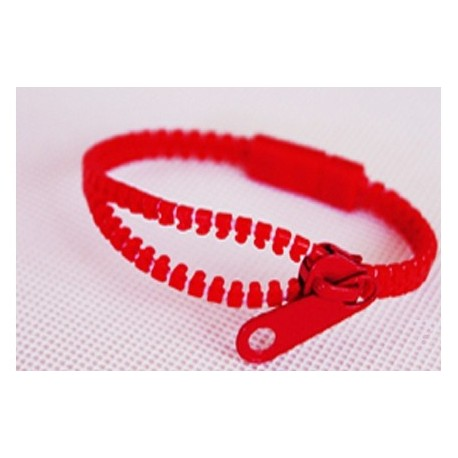 Neon Red Zipper Bracelet