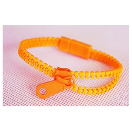 Neon Orange Zipper Bracelet