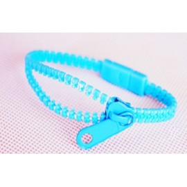 Neon Light Blue Zipper Bracelet