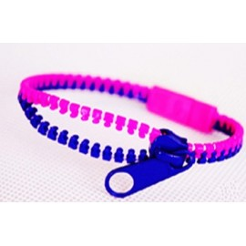 Two-Tone Pink and Dark Blue Zipper Bracelet