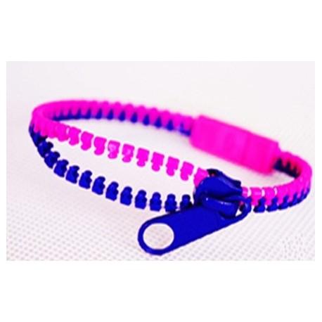 Two-Tone Pink and Dark Blue Zipper Bracelet