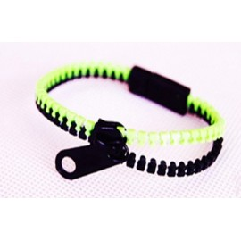 Two-Tone Light Green and Black Zipper Bracelet