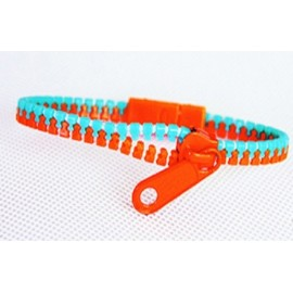 Two-Tone Medium Green and Orange Zipper Bracelet