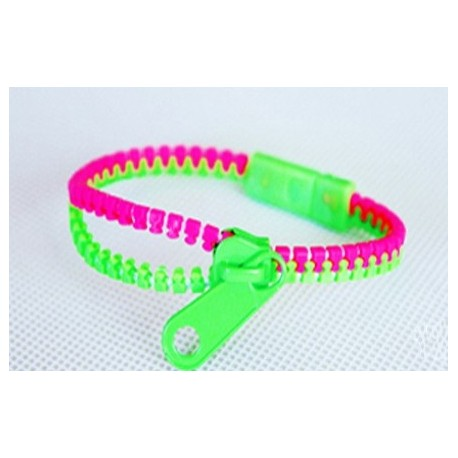 Two-Tone Pink and Green Zipper Bracelet