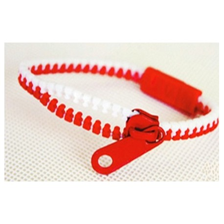 Two-Tone White and Red Zipper Bracelet