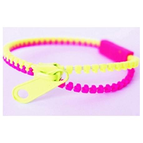 Two-Tone Light Green and Pink Zipper Bracelet