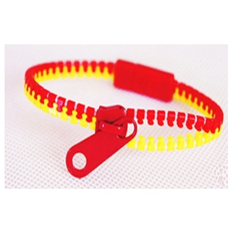 Two-Tone Red and Yellow Zipper Bracelet