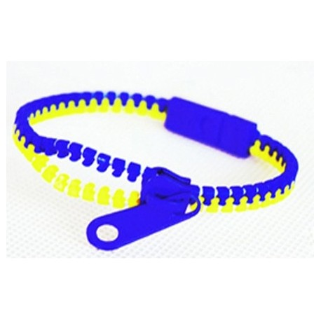 Two-Tone Blue and Yellow Zipper Bracelet