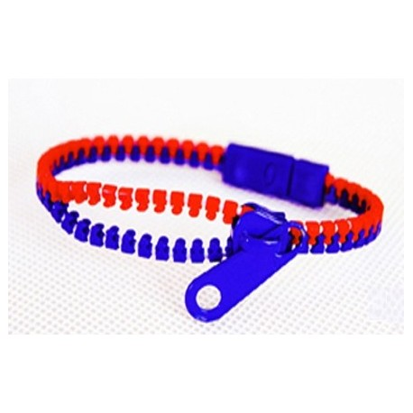 Two-Tone Red and Dark Blue Zipper Bracelet