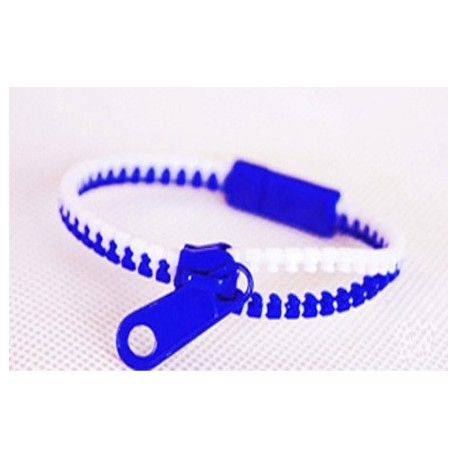Two-Tone White and Blue Zipper Bracelet