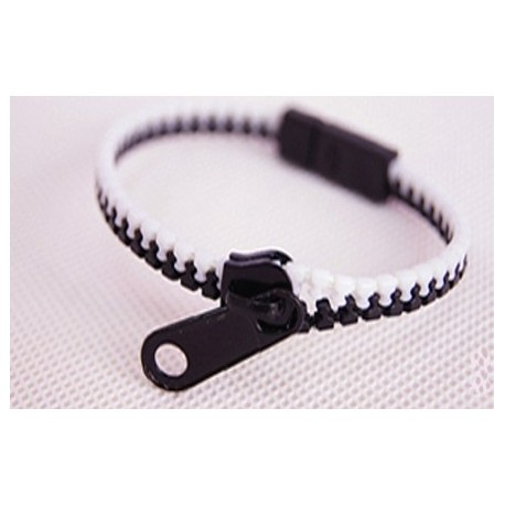Two-Tone White and Black Zipper Bracelet