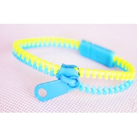 Two-Tone Light Blue and Light Green Zipper Bracelet