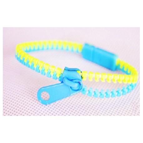 Two-Tone Light Blue and Light Green Zipper Bracelet
