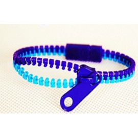 Two-Tone Medium Blue and Purple Zipper Bracelet