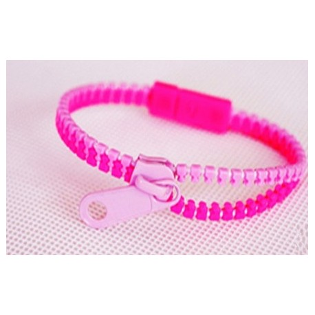 Two-Tone Lavender and Pink Zipper Bracelet