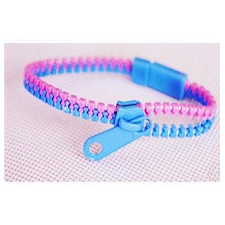 Two-Tone Lavender and Light Blue Zipper Bracelet