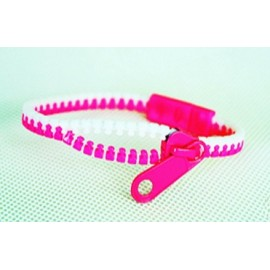 Two-Tone White and Pink Zipper Bracelet