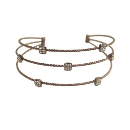 Wire Twist Bracelet With Square Crystal - Chocolate