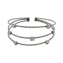 Wire Twist Bracelet With Square Crystal - Antique Gold