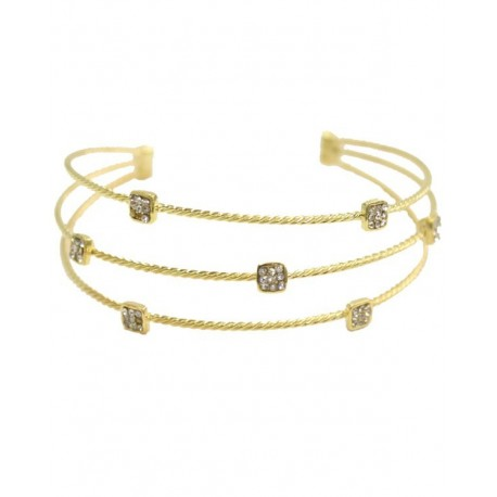 Wire Twist Bracelet With Square Crystal -Gold