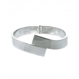 Metal Hinge Bracelet With Overlap Front - Silver