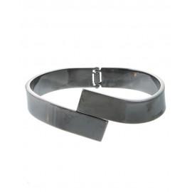 Metal Hinge Bracelet With Overlap Front - Gunmetal