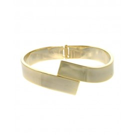 Metal Hinge Bracelet With Overlap Front - Gold