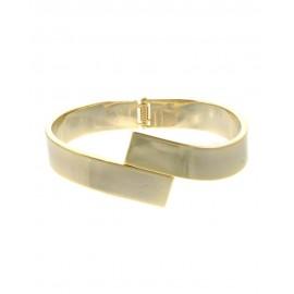 Metal Hinge Bracelet With Overlap Front - Gold