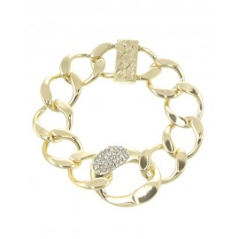 Crystal Accented Link Bracelet With Magnetic Closure- Silver