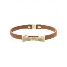 Adorable Bow-Tie Faux Leather Bracelet With Magnetic Closure - Brown