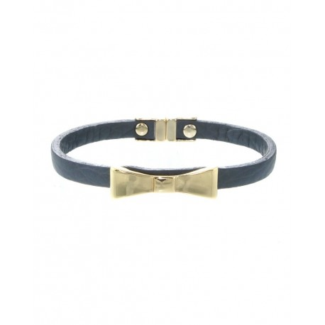 Adorable Bow-Tie Faux Leather Bracelet With Magnetic Closure - Grey