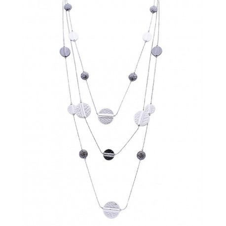Hammered Metal Multi Layered Necklace