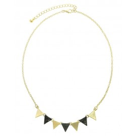Textured Triangle Link Necklace - Gold/Gunmetal