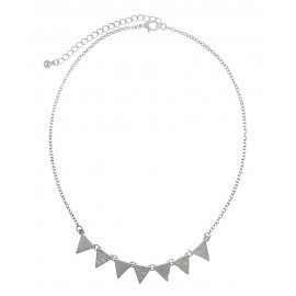 Textured Triangle Link Necklace - Silver