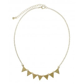 Textured Triangle Link Necklace - Gold