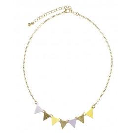 Textured Triangle Link Necklace - Gold/Yellow