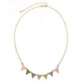 Textured Triangle Link Necklace - Multi