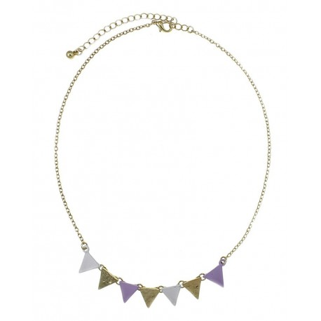 Textured Triangle Link Necklace - Gold/Lavender