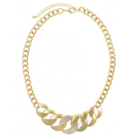 Textured/Crystal Pave Chain Statement Necklace - Gold