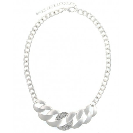 Textured/Crystal Pave Chain Statement Necklace - Silver