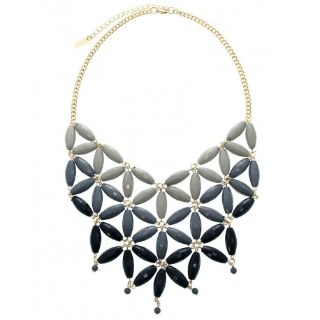 Bead Link Statement Necklace With Earrings- Black