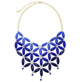 Bead Link Statement Necklace With Earrings- Blue