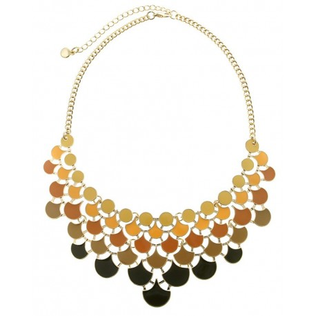 Enamel Plated Metal Statement Necklace With Earrings- Yellow