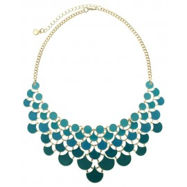 Enamel Plated Metal Statement Necklace With Earrings - Blue