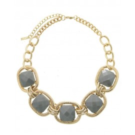 Gold Chain Acrylic Stone Statement Necklace With Earrings - Silver
