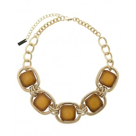 Gold Chain Acrylic Stone Statement Necklace - Beige