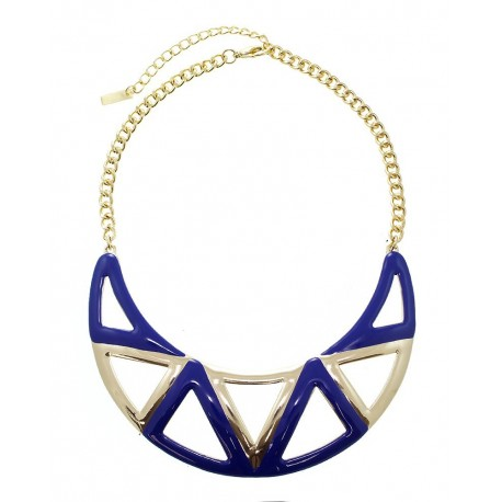 Enamel Aztec Statement Necklace With Earrings - Blue