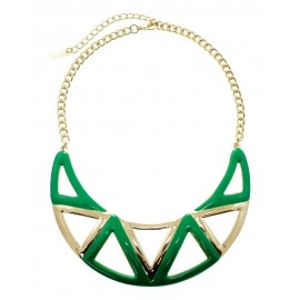 Enamel Aztec Statement Necklace With Earrings - Green
